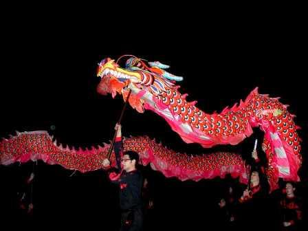 """Ab in die Mitte, """"Der Drachen tanzt"""", Drachentanz- u. Pyroperformance, Munster, original schinesischer Drachentanz im Feuerwerk"""