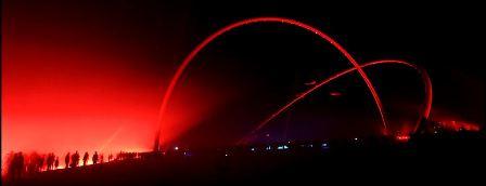 Eröffnung des Horizont-Observatoriums auf der Halde Hoheward, Drachenperformance, Windharfen und pyrotechnische Illuminationen